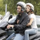 Eva Longoria And Tony Parker Riding Scooters To Go To France Television Headquarters In Paris, France, July 2 2009