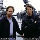 Jerry Bruckheimer and Michael Bay on the set of Touchstone Pictures' Pearl Harbor - 2001