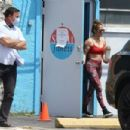 Jennifer Lopez in Red Sports Bra and Tights at the gym in Miami