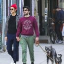 Zachary Quinto and Miles McMillan take their dogs for a walk in the East Village neighborhood of New York City NY on October 17, 2016 - 454 x 515