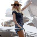 Victoria Silvstedt On Boat In Saint Tropez, France, July 16