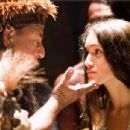 August Shellenberg as Chief Powhatan and Q'orianka Kilcher as Pocahontas.