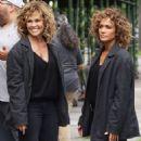 Jennifer Lopez, alongside her Stunt Double, Vanessa Vander Pluym