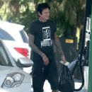Rocker Tommy Lee stops for gas at a gas station in Calabasas, California on July 12, 2016 - 434 x 600