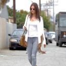 Victoria's Secret model Alessandra Ambrosio runs errands with a friend on May 14, 2015 in Santa Monica, California
