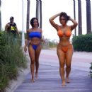 Daphne Joy – In a orange bikini at the pool in Miami - 454 x 480