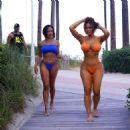 Daphne Joy – In a orange bikini at the pool in Miami - 454 x 480