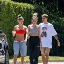 Hailey Baldwin in Red Bikini Top – Out in Beverly Hills