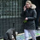Melissa Benoist with her dogs out in Vancouver