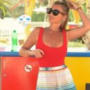 Billie Faiers in Red Swimsuit at a water park in Dubai - 454 x 1005