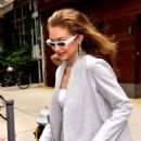 Gigi Hadid in Grey Blazer and tiny shorts out in New York