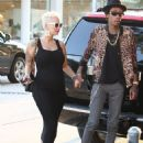 Amber Rose and Wiz Khalifa at Madeo Restaurant in West Hollywood, California - October 2, 2012