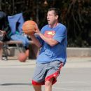 Adam Sandler was spotted playing basketball with his friends in Brentwood, California on October 15, 2016 - 427 x 600