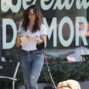 Troian Bellisario – Walking her dog in LA - 454 x 686
