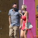 Tina Louise in Red Mini Dress and Brian Austin Green – Having drinks at Sugar Taco in Los Angeles - 454 x 681