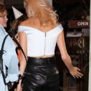 Pixie Lott in Leather Arriving at Bunga Bunga in London - 454 x 961