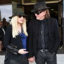 Orianthi and guitarist Richie Sambora leave a funeral for blues musician B.B. King at Palm Downtown Mortuary & Cemetery on May 23, 2015 in Las Vegas, Nevada.