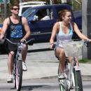 Riding Bikes at Toluca Lake with her boyfriend liam