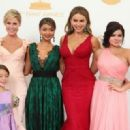 Julie Bowen, Aubrey Anderson-Emmons, Sarah Hyland, Sofia Vergara and Ariel Winter appear backstage at the 65th Primetime Emmy Awards at Nokia Theatre - 454 x 320