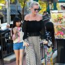 French Singer Johnny Hallyday and his wife, actress Laeticia Hallyday were seen taking their family out for a day dinner in West Hollywood, California on March 25, 2017. The Hallyday family went to Cecconi's, Urth Cafe, and Restoration Hardware - 420 x 600