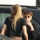 Kristen Stewart and Stella Maxwell with a friend at the Ye Rustic Inn in Los Feliz - 454 x 681