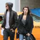 Getting an early start to the work day, Ashley Greene and Xavier SamuelVancouver, Canada on Tuesday