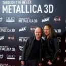 "Kirk Hammett and Lars Ulrich Of Metallica attend the ""Metallica: Through the Never"" premiere at the Callao Cinema ME on October 9, 2013 in Madrid, Spain"