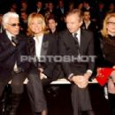 L'Wren Scott, Karl Lagerfeld and Catherine Deneuve at Dior Autumn-Winter 2006-2007 Menswear Fashion Show - Paris, France - 31 January 2006