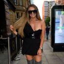 Charlotte Dawson in Black Mini Dress – Out in Manchester - 454 x 691