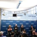 Glenn Tipton, Rob Halford and Richie Faulkner of the band Judas Priest along with host Jim Breuer attend SiriusXM's Town Hall series with Judas Priest on July 8, 2014 in New York City
