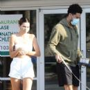 Kendall Jenner – In a white summer outfit in Malibu