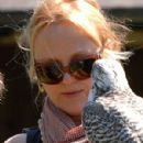Miranda Richardson at a 'Birds of Prey' sanctuary
