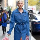 Elsa Hosk in Long Jeans Coat – Out in NYC - 454 x 568