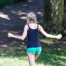 Taylor Swift In Green Shorts At Park In Hollywood