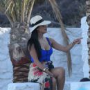 Nicole Scherzinger in Blue Swimsuit in Mykonos