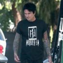 Rocker Tommy Lee stops for gas at a gas station in Calabasas, California on July 12, 2016 - 449 x 600