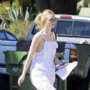 Elle Fanning in White Dress out in LA - 454 x 674
