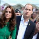Prince William, Duke of Cambridge, Catherine, Duchess of Cambridge and Prince Harry start the first stage of the 2014 Tour de France (July 5, 2014)