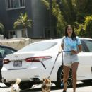 Sara Sampaio in Shorts – Takes her dogs for a walk in Los Angeles