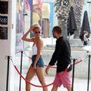Pixie Lott in Denim Shorts Out in Barcelona - 454 x 612