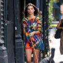 Emily Ratajkowski – out in full color shirt with her dog in New York