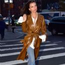 Emily Ratajkowski in Leather Coat – Out in NYC