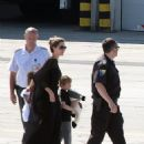 Angelina Jolie arriving in Sarajevo with Shiloh, Zahara and Pax (July 7)
