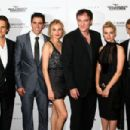 Producer Lawrence Bender, actor Eli Roth, actress Diane Kruger, writer/director Quentin Tarantino, actress Melanie Laurent and actor Christopher Waltz attend the Cinema Society and Hugo Boss screening of