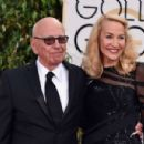 Still going strong! Jerry Hall, 59, hits the Golden Globes red carpet on the arm of 84-year-old Rupert Murdoch - three months after it was revealed they are dating - 11 Jan 2016 - 454 x 301