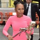 Melanie Brown – Arriving with her dog at BBC Radio 2 in London