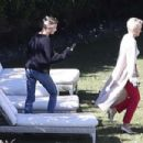 Hailey Bieber – Having a chat with a friend at the Bel-Air Country Club in Bel Air