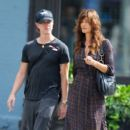 Helena Christensen And Boyfriend Walking In NY