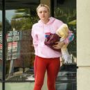Dakota Fanning in Red Gym Outfit – Leaves the gym in Los Angeles
