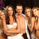 Aurelie backstage at Victoria's Secret Fashion Show, November 2001.
